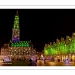 Les illuminations de la place des Héros à Arras (Hotel de ville et beffroi classés monuments historiques)