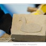 Ajout des détails (oeil, ailes) à la pointe à tracer. Noémie (enfant,fille, 8 ans) réalise une sculpture sur pierre dans le cadre des ateliers du festival de l'oiseau. Elle trace le contour de l'oiseau à sculpter au crayon sur la pierre, puis à la pointe à tracer et enfin au ciseau à bois. La pierre est ensuite poncée et les détails ajoutés. Saison : Printemps - Lieu : Abbeville, Somme, Picardie, France.