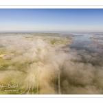 Le cap Hornu dans la brume matinale (vue aérienne)