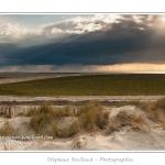 Alors que les plages de la Maye sont sous le soleil, un orage éclate sur le Crotoy. Saison : Printemps - Lieu : Plages de la Maye, Baie de Somme, Le Crotoy, Somme, Picardie