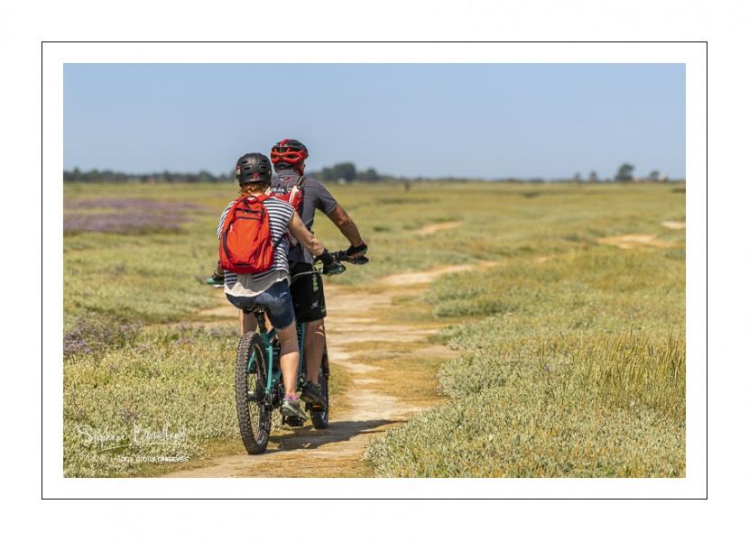Promeneurs à vélo au Cap hornu en Baie de Somme