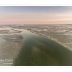 La pointe du Hourdel et les bancs de sable de la baie de Somme à marée basse