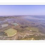 France, Somme (80), Baie de Somme, Saint-Valery-sur-Somme, Cap Hornu, les mollières envahies par la mer lors des grandes marées, les chenaux et les mares des huttes de chasse sont alors bien visibles (vue aérienne) // France, Somme (80), Somme Bay, Saint-Valery-sur-Somme, Cape Hornu, the salted meadows invaded by the sea during high tides, the channels and the ponds of hunting huts are then clearly visible (aerial view)