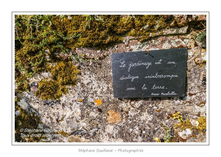 De nombreuses citations et proverbes notées sur des ardoises décorent le jardin et invitent à la philosophie - L'Herbarium est un jardin perché sur les remparts de la cité médiévale, au coeur de Saint-Valery. C'était autrefois le jardin des religieuses et il a conservé un pommier et des groseillers centenaires. Le jardin, constitué de trois terrasses, a été restauré en 1995 par une association de bénévoles qui continue de l'entretenir et de l'ouvrir au public. Saison : été - Lieu : Saint-Valery-sur-Somme, Baie de Somme, Somme, Picardie, France