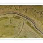 France, Somme (80), Baie de Somme, Le Crotoy, Les mollières de la Baie de Somme (vue aérienne), chenaux et végétation aux teintes variées créent des mini paysages abstraits // France, Somme (80), Baie de Somme, Le Crotoy, Salted meadows in Baie de Somme (aerial view), channels and vegetation in various shades create mini abstract landscapes