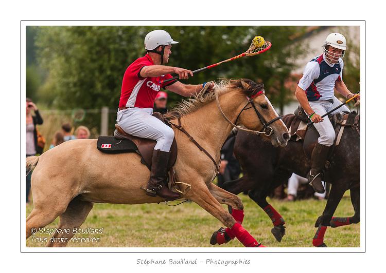 """Le polocrosse est un jeu d'équipe à cheval qui est principalement joué dans le Commonwealth. Mélange de polo et du jeu amérindien lacrosse, il se joue à cheval sur une surface en herbe de la taille d'un terrain de football. Chaque joueur utilise une raquette avec un filet, appelée une crosse, dans laquelle une balle en caoutchouc légère et très élastique est portée et lancée. Le diamètre de la balle est de 20 cm environ. C'est un sport d'équipe équestre fait d'adresse et de stratégie. Règles  Le jeu se joue essentiellement au galop. Les joueurs peuvent se faire des passes aériennes en utilisant leur raquette, ramasser la balle à terre ou heurter la raquette d'un adversaire pour la récupérer. Le but est de marquer le maximum de buts dans le temps de jeu.  À la différence du polo, les joueurs n'ont le droit de monter qu'un seul cheval durant la durée d'un matche. Cette caractéristique de ce sport est imposée afin d'encourager la gestion raisonnable du capital santé des chevaux. Toutes les races de chevaux peuvent jouer. La première équipe française est issue du Club créateur de la discipline en France """"Henson Polocrosse France"""". L'équipe de France a été régulièrement sur le podium en Coupe d'Europe depuis 2006, elle est gagnante du tournoi des 4 Nations 2010 et de la Coupe du Monde série B (le Challenge International) en 2011. À l'origine l'équipe était entièrement constituée de joueurs montés sur des chevaux de race Henson Henson. L'équipe de France reste fidèle à cette race même si elle ne constitue plus la totalité des effectifs. À haut niveau de jeu lors de rencontres internationales dans de nombreux pays, les montures utilisées sont souvent des pur-sang anglais ou des chevaux de stocks australiens.  Une équipe est composée de six joueurs, répartis en deux sections de trois, qui jouent alternativement des chukkas (ou parties) d'une durée maximum de huit minutes chacune. Un match est composé de six à huit chukkas.  Les rôles dans chaque section sont clairement défi"""