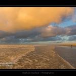 La plage de Quend-Plage un soir d'hiver. Saison : Hiver - Lieu : Quend-Plage , Côte Picarde, Marquenterre, Somme, Picardie, France