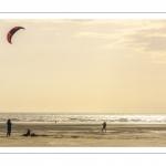 Famille jouant au cerf-volant sur la plage