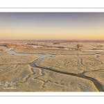 Les renclôtures de la baie de Somme couvertes de givre au petit matin (vue aérienne)