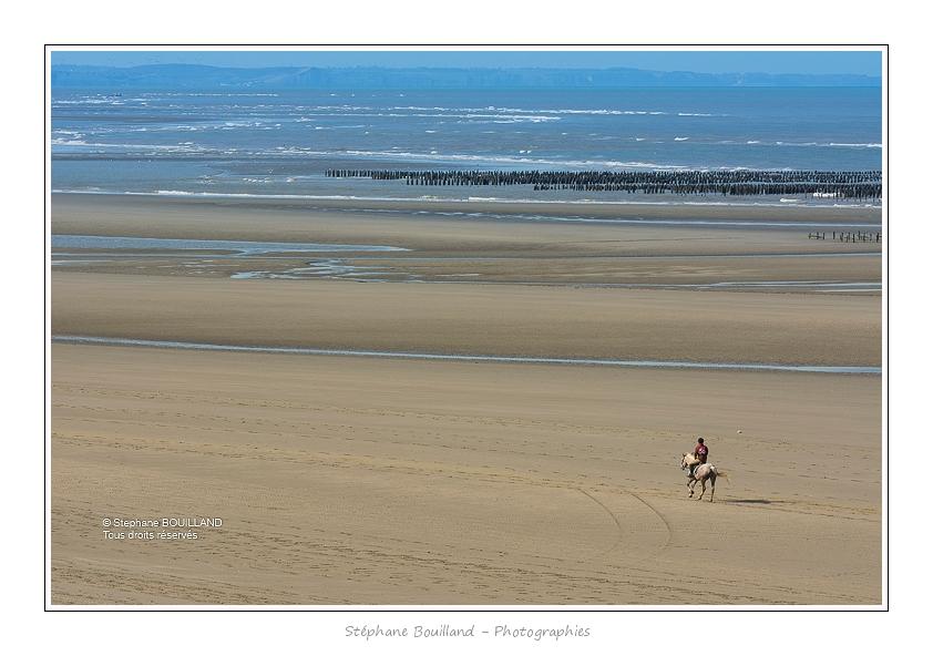 Passage des cavaliers sur la plage face aux bouchots. Saison : Printemps- Lieux : Sentier d'accès à la mer, Saint-Quentin-en-Tourmont, Baie de Somme, Somme, Picardie, France