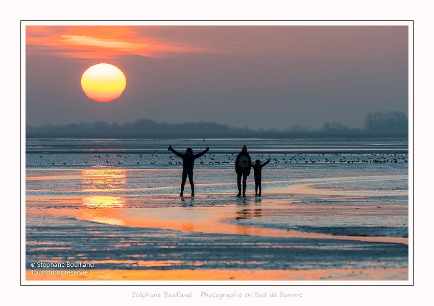 Crépuscule sur la plage du Crotoy en Baie de Somme