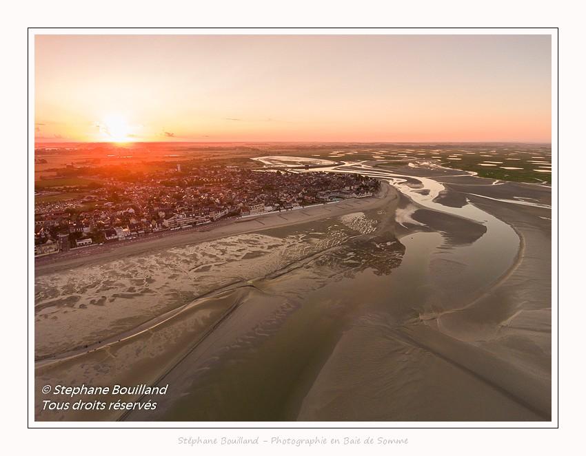 La baie de Somme vue du ciel : Le Crotoy