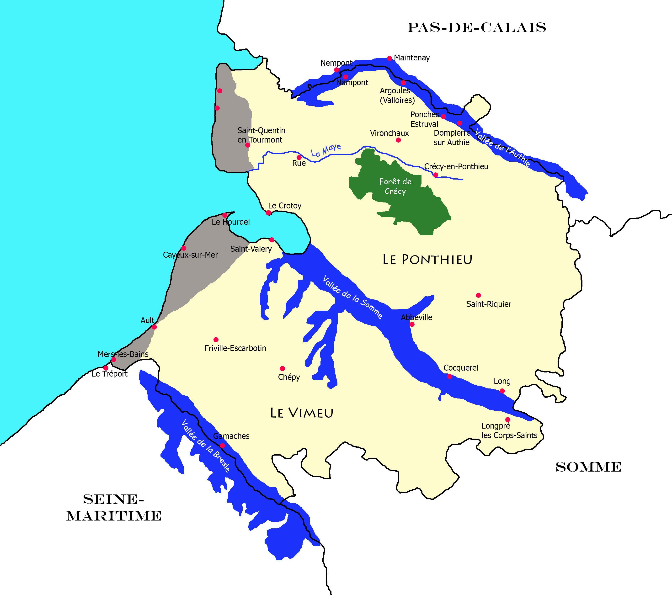 Carte de la Picardie Maritime (Somme)